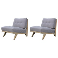 Pair of Modern Blue and White Striped Bleached Tiger Oak Slipper Lounge Chairs