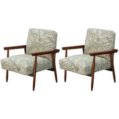 Pair of Modern Italian Danish Style Palm Leaf Patterned Lounge Chairs