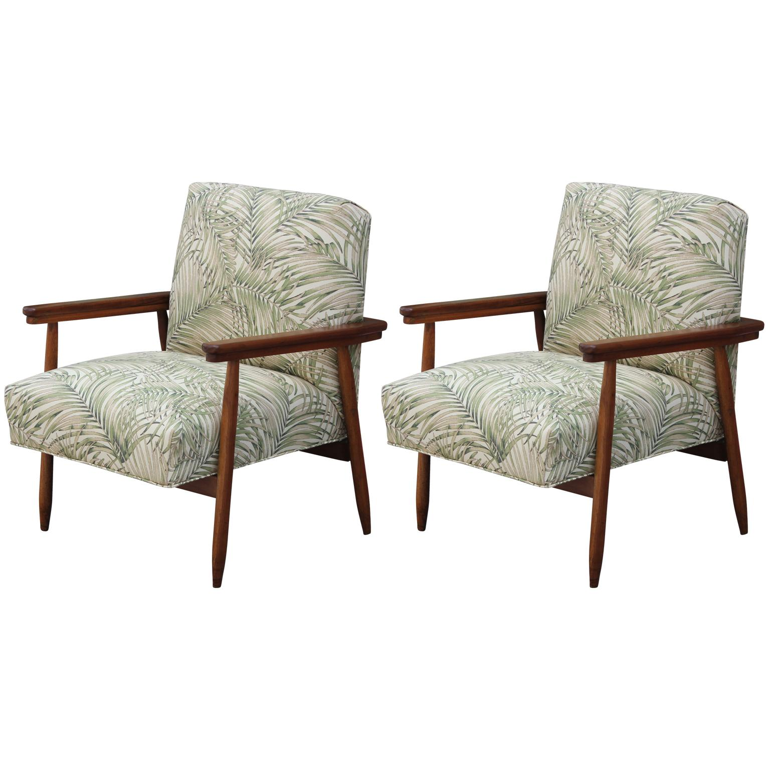 Pair Of Modern Italian Danish Style Palm Leaf Patterned Lounge Chairs For  Sale