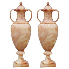 Pair of Massive Italian Alabaster Urns with Internal Lighting / Lamp