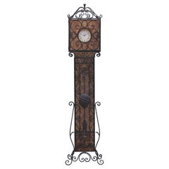 Oscar Bach Style Wrought Iron and Mica Light Up Stand Up Clock
