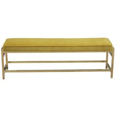 Hollywood Regency Mastercraft Style Rectangular Brass Bench in Gold Velvet
