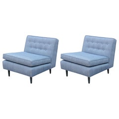 Pair of Modern Blue Slipper Lounge Chairs with French Blue Stained Legs