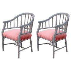 Pair of Hollywood Regency Grey and Coral Velvet Faux Bamboo Barrel Back Chair