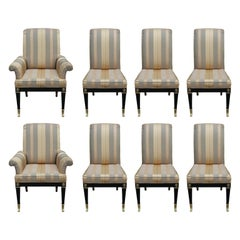 Set of Eight Mastercraft Neoclassical Empire Black Lacquer Dining Chairs