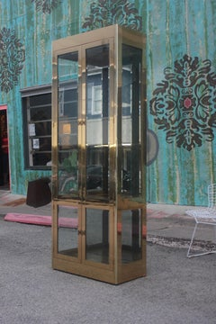 Pair of Hollywood Regency Brass and Glass Mastercraft Vitrines / Bookcases
