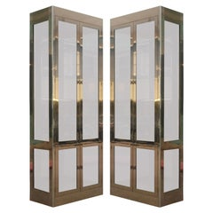 Pair of Hollywood Regency Brass and Glass Mastercraft Vitrines or Bookcases