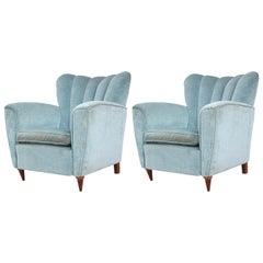 Pair of Modern Italian Blue Velvet and Walnut Channel Back Lounge Chairs