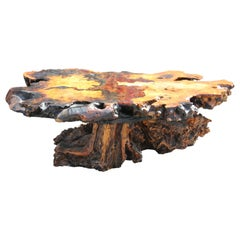 Modern Nakashima Style Burl Root Coffee Table with Inlayed Amber Glass Detailing