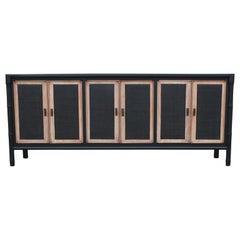 Modern Two-Tone Cane Front and Faux Bamboo Credenza with Brass Hardware