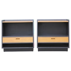 Pair of Two-Toned Modern Angular Nightstands by Edward Wormley for Dunbar