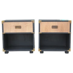 Modern Henredon Campaign Two-Toned Bleached Nightstands with Brass Accents