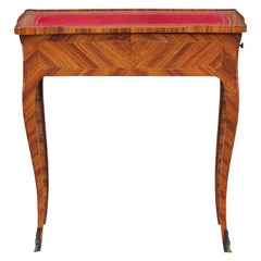 French Rosewood Sewing Table with Bronze Ormolu and Leather