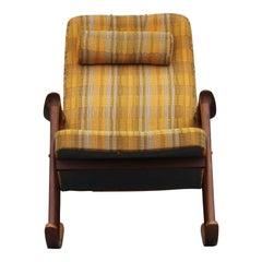 Modern Scandinavian Westnofa Yellow Pattern Teak Rocking Chair by Ingmar Relling