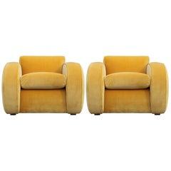 Pair of Large Restored Modern Deco Yellow Velvet Streamline Club Chairs