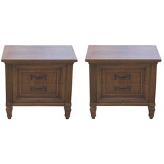 Pair of Modern French Two-Door Walnut Nightstands by Thomasville