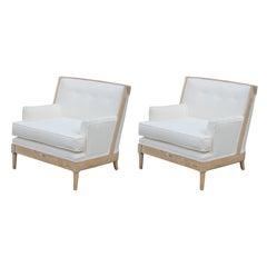 Pair of Modern French White Velvet Light Wood Tomlinson Lounge Chairs