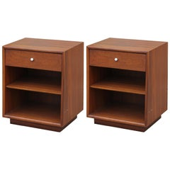 Modern Pair of Kipp Stewart for Drexel Single Drawer Walnut Nightstands