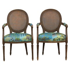 Pair of Louis XV Armchairs with Distressed Wood and Fornasetti Fabric
