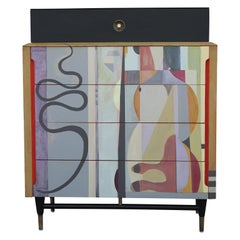 Modern Organic Colorful Custom Painted Abstract Chest