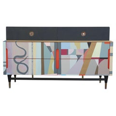 Modern Organic Colorful Custom Painted Abstract Six-Drawer Dresser