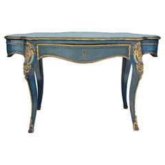 French Rococo Revival Ormolu Mounted Polychrome Turtle Top Center Table