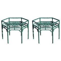 Modern Pair of Gorgeous Green Lacquer Hexagonal Faux Bamboo End / Side Tables