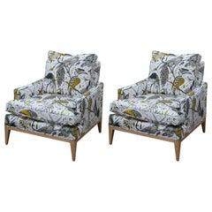 Modern Pair of Edward Wormley for Drexel Custom Bird Print Fabric Lounge Chairs