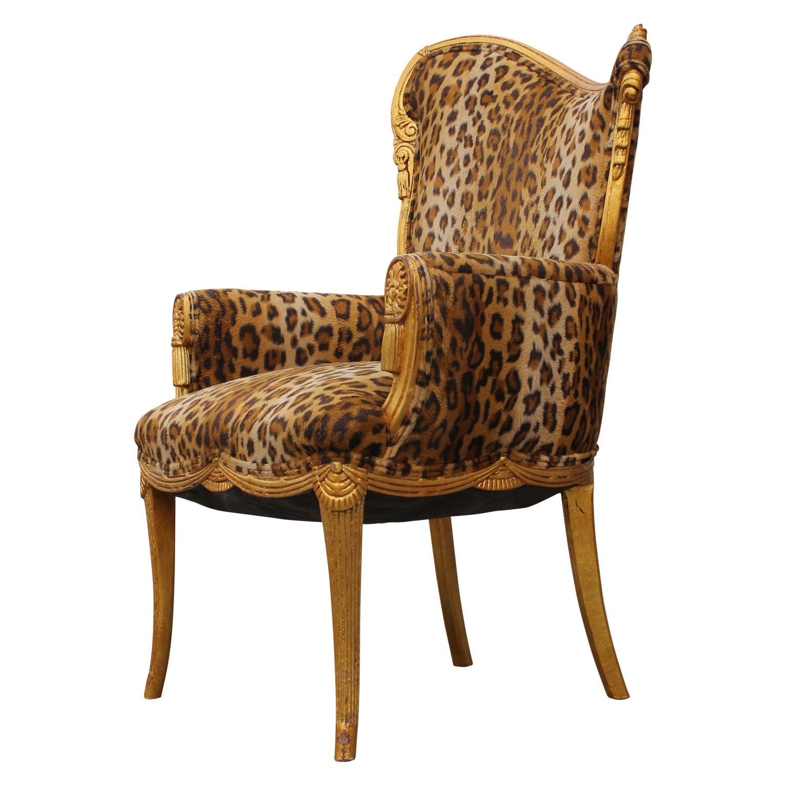 Pair Of Gold Leaf Cheetah Print Reupholstered Fireside Chairs