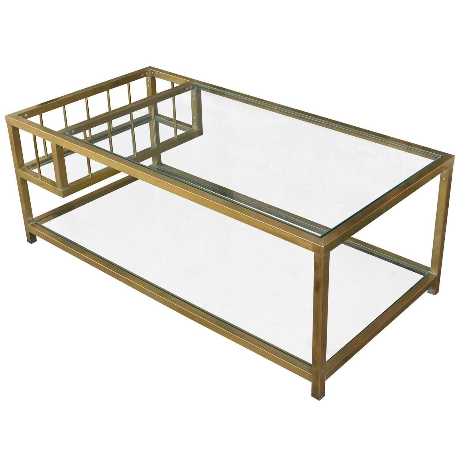 Brass And Glass Mastercraft Style Coffee Table At 1stdibs