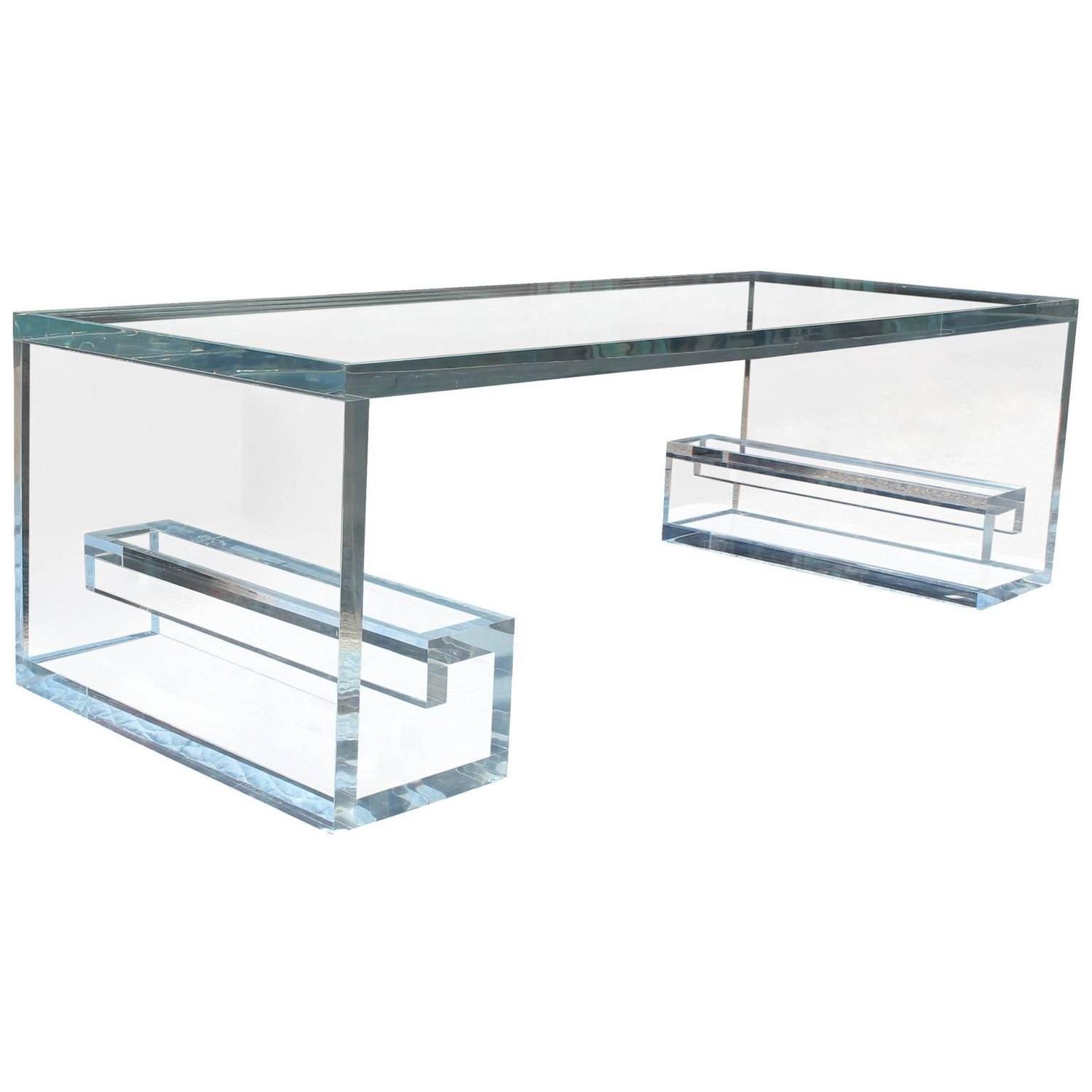 Greek Key Lucite Coffee Table At 1stdibs