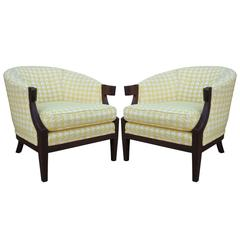 Baker Houndstooth Curved Arm Lounge Chairs