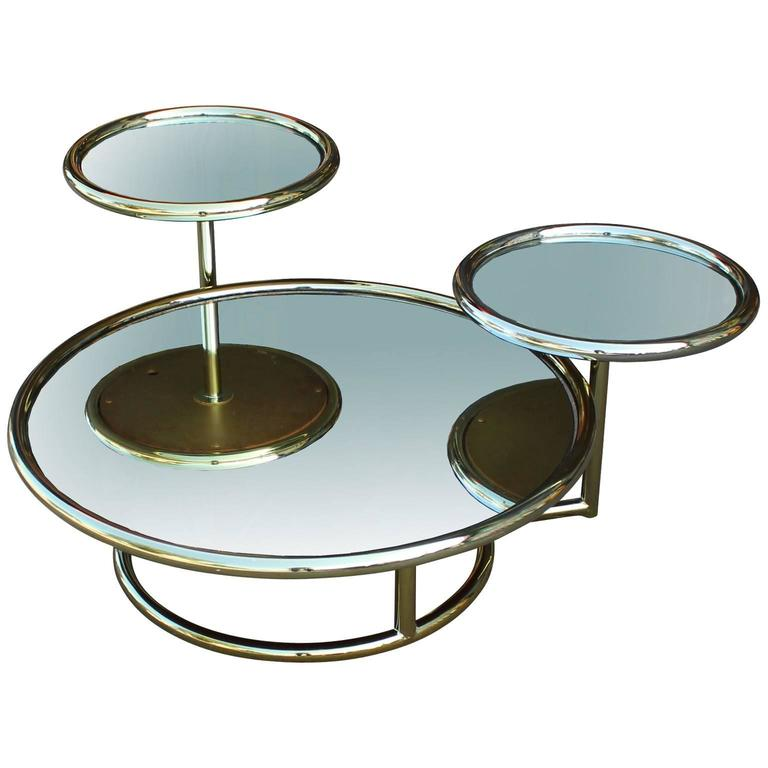 Incredible Multilevel Brass And Mirror Mid Century Modern Coffee Table For  Sale