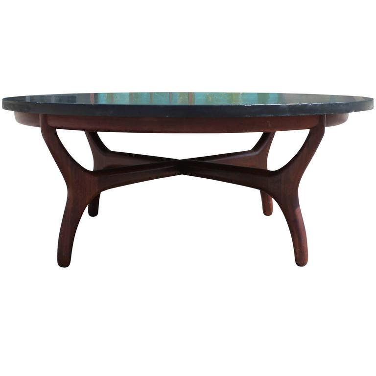 Slate And Glass Coffee Table For Sale: Beautiful Slate-Topped Coffee Table By Henredon At 1stdibs