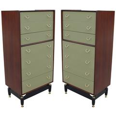 Stunning Pair of Walnut Green Lacquer and Brass Modern Dressers