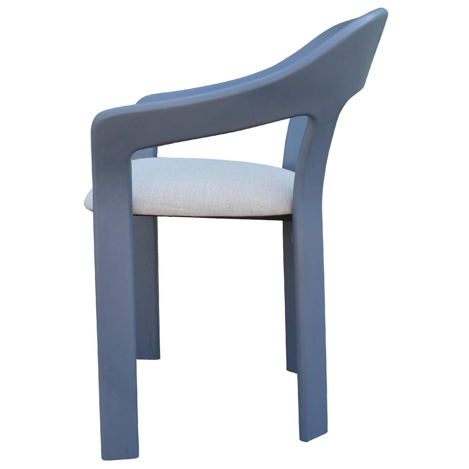 Set Of Six Sculptural French Blue Grey Dining Chairs At 1stdibs