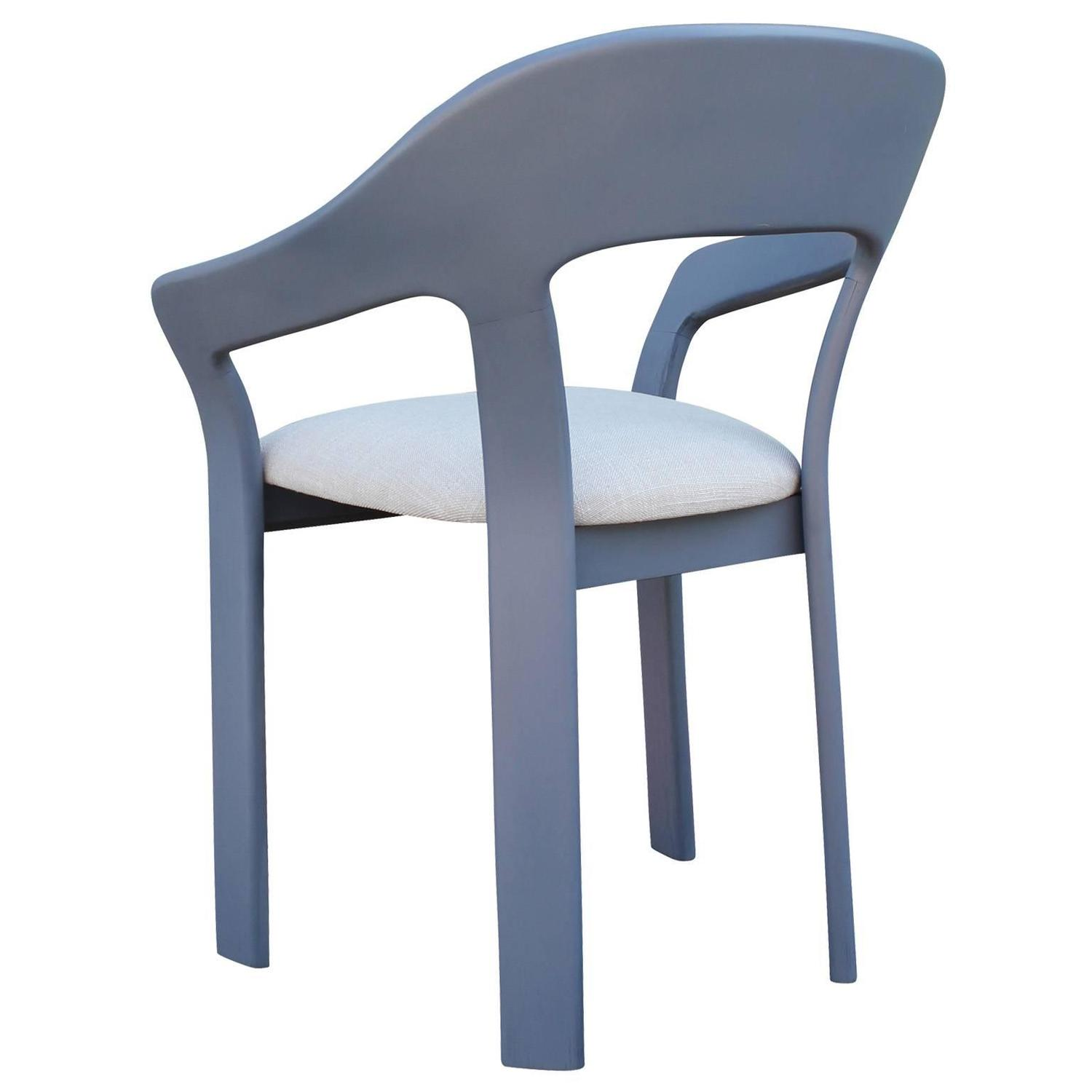 Set Of Six Sculptural French Blue Grey Dining Chairs For