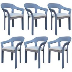 Set of Six Sculptural French Blue Grey Dining Chairs