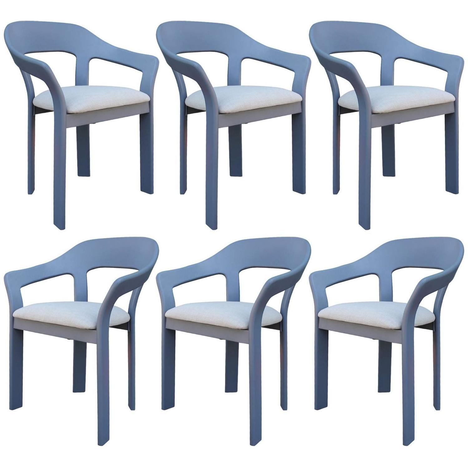 Set of Six Sculptural French Blue Grey Dining Chairs For Sale at ...