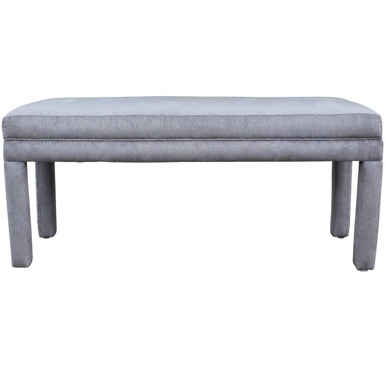 Wonderful Parsons Style Bench In Silver Grey Velvet At 1stdibs