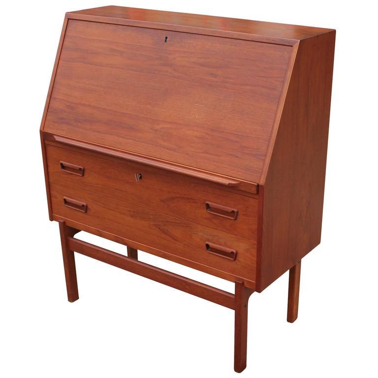 Drop Front Desk >> Wonderful Danish Teak Drop Front Desk