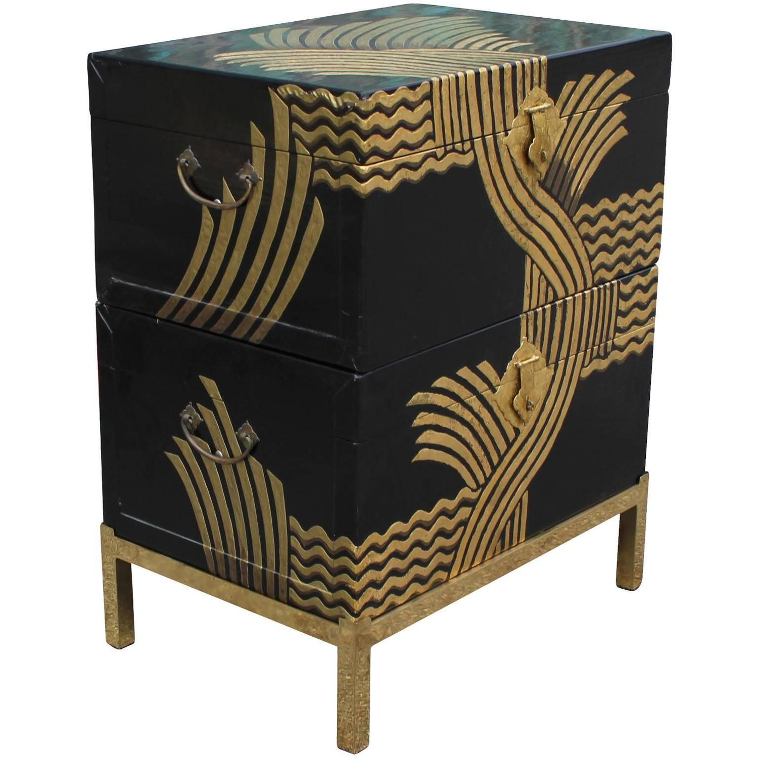 Stacked asian black lacquer and gold stacked chests at 1stdibs for Chinese furniture houston tx