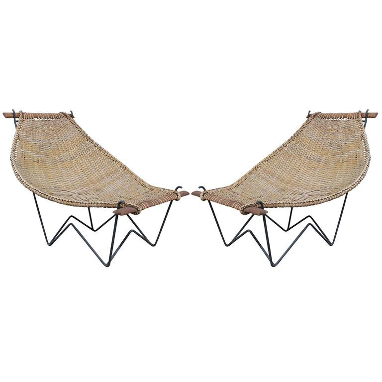 Pair of Duyan Rattan Lounge Chairs by John Risley