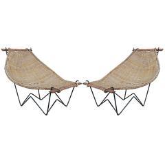 Pair of Duyan Rattan Lounge Chairs by John Risley
