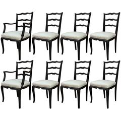 Set of Eight Argentinian Ladder Back Dining Chairs in Cream Naugahy