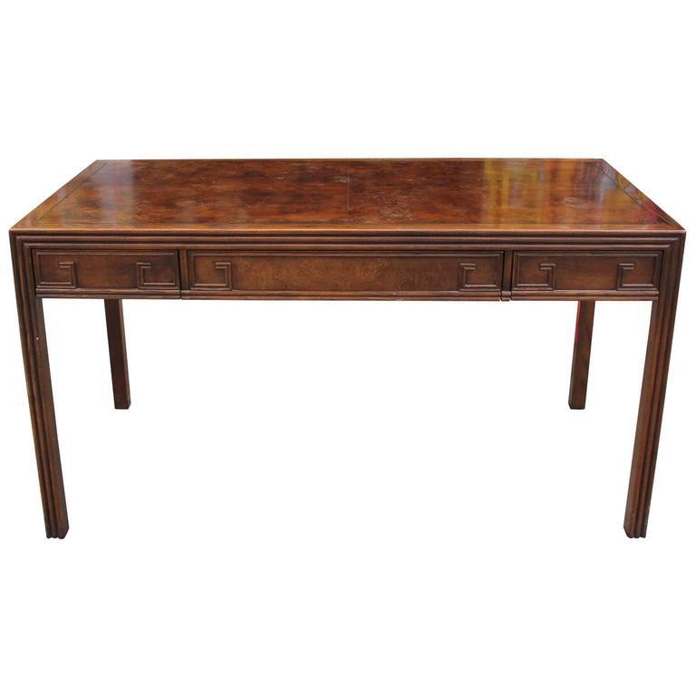 Striking Baker Burl Desk With Greek Key Motif 2