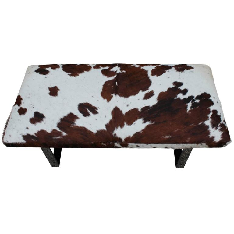 Striking Cowhide And Chrome Bench Of Ottoman At 1stdibs