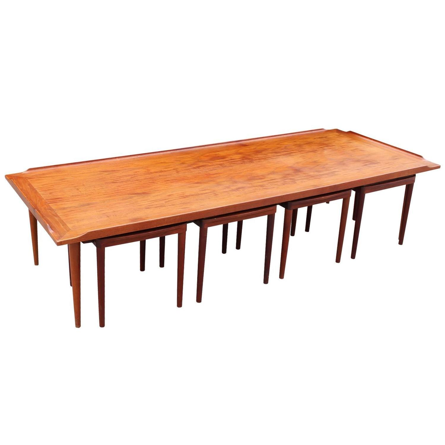 Fantastic Danish Coffee Table With Reversible Stools