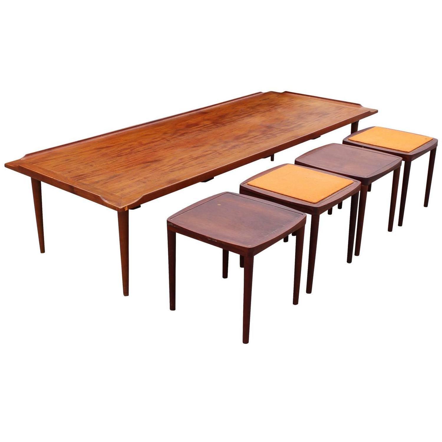 Fantastic Danish Coffee Table With Reversible Stools Tables For Sale At 1stdibs