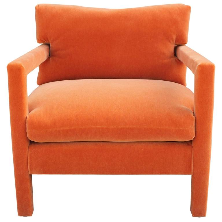 Fabulous Pair Of Milo Baughman Parsons Style Chairs In Orange Mohair Velvet  2